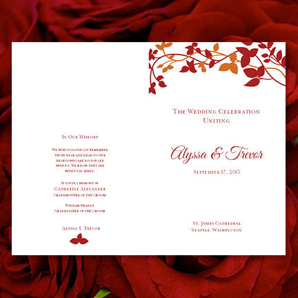 Wedding Program Template Forever Entwined Fall Orange Red