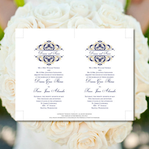 Pocket Fold Wedding Invitations Grace Navy Blue Champagne Gold 5x7