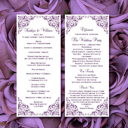 Slim Wedding Program Isabella Purple
