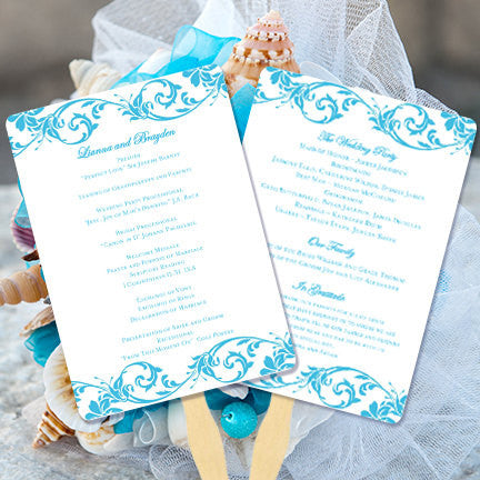 Wedding Program Fan Tropical Damask Malibu Blue