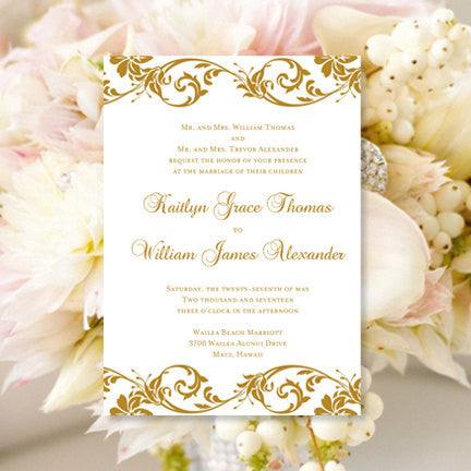 Tropical Damask Wedding Invitation Gold