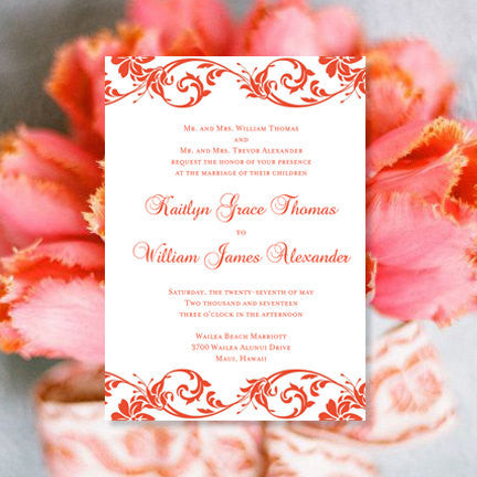 Tropical Damask Wedding Invitation Coral