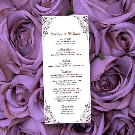 Wedding Menu Card Gianna Eggplant Purple Silver Tea Length