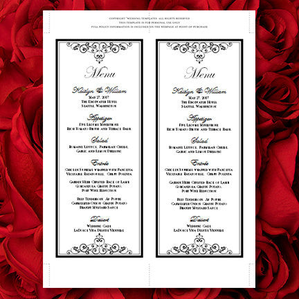 Wedding Menu Card Vintage Black White Tea Length