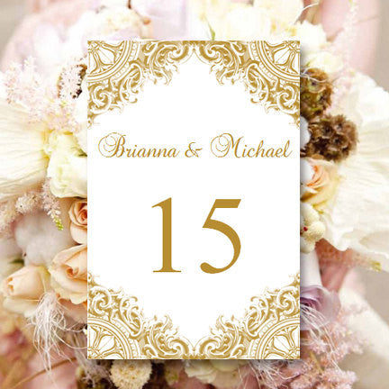 Wedding Table Number Template Vintage Gold Flat