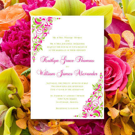 Tropical Gianna Wedding Invitation Fuchsia Pink Lime Green