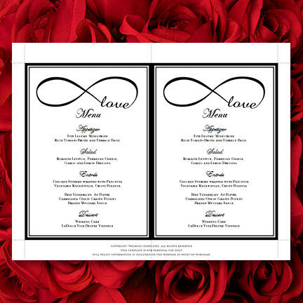 Wedding Reception Menu Template Infinity Love Black 5x7