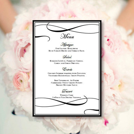 Wedding Reception Menu Template It's Love Black White 5x7