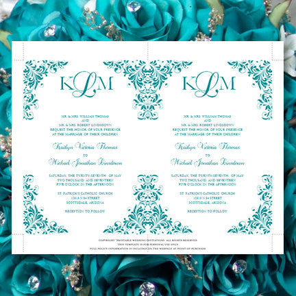 Kaitlyn Wedding Invitation Teal