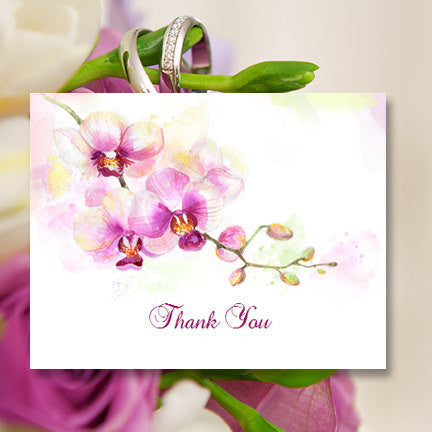 Wedding Thank You Card Orchid Purple White