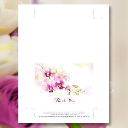 Wedding Thank You Card Orchid Purple