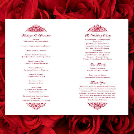 Wedding Program Template Grace Cranberry Red
