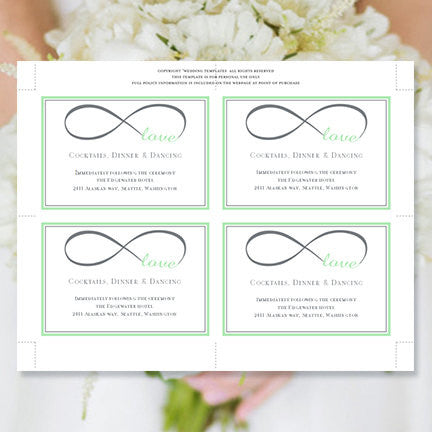 Wedding Reception Invitations Infinity Love Mint Green Gray
