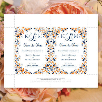 Wedding Save the Date Cards Kaitlyn Navy and Orange