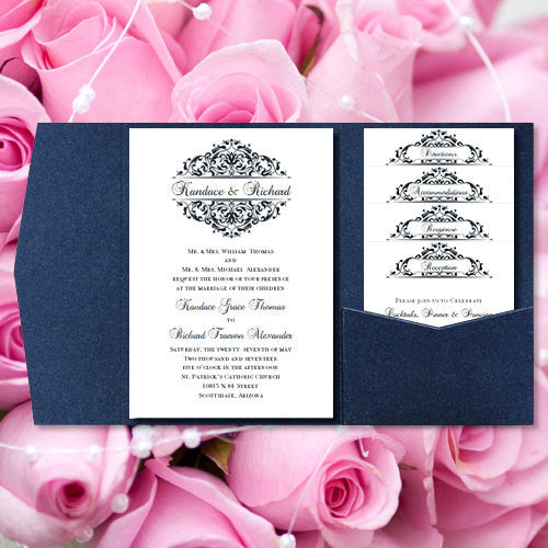 Pocket Fold Wedding Invitations Grace Midnight Navy Blue 5x7