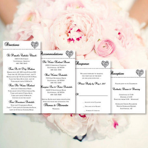 Pocket Fold Wedding Invitations Hearts Black White 5x7
