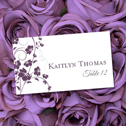 Wedding Seating Card Madison Purple Plum Tent