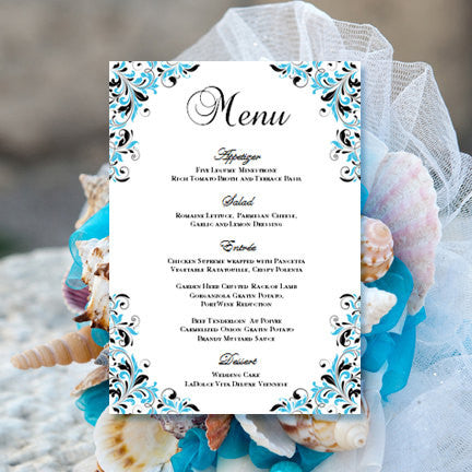 Wedding Reception Menu Template Kaitlyn Malibu Blue Black 5x7