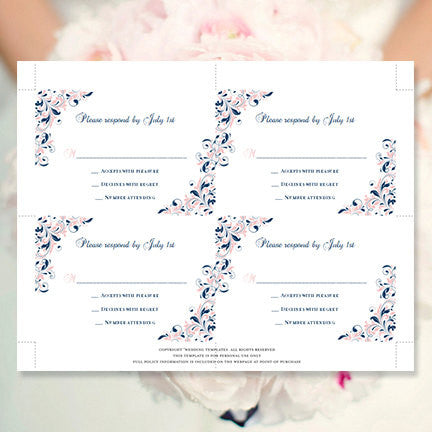Wedding Response Cards Kaitlyn Blush Pink Navy Blue