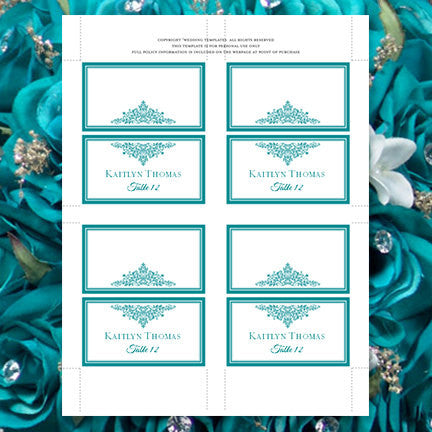 Wedding Seating Card Anna Maria Teal Tent