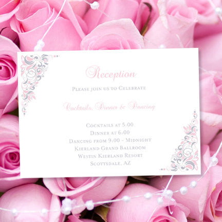 Wedding Reception Invitations Gianna Blush Pink Silver Gray