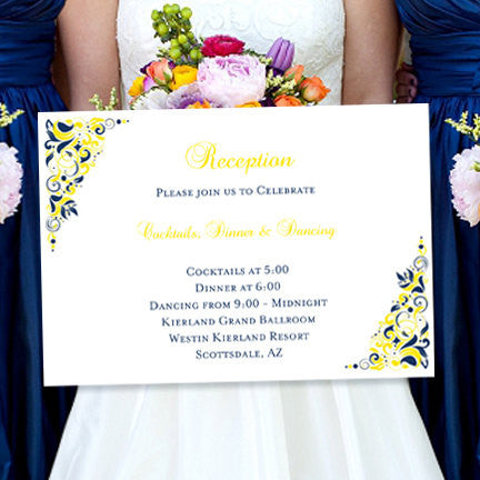 Wedding Reception Invitations Gianna Navy Blue Lemon Yellow