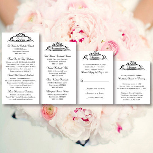 Pocket Fold Wedding Invitations Grace Black White 5x7