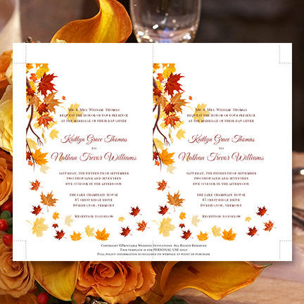 Falling leaves wedding invitation fall orange yellow wedding falling leaves wedding invitation fall orange yellow stopboris Gallery