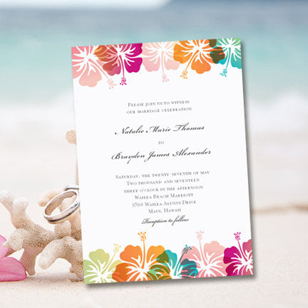 Hibiscus Wedding Invitation Tropical Pink Turquoise Orange