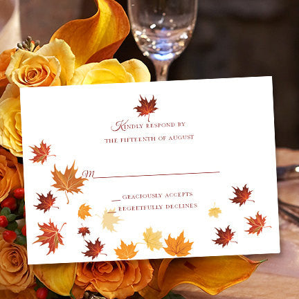 Wedding Response Cards Falling Leaves Red Orange Yellow