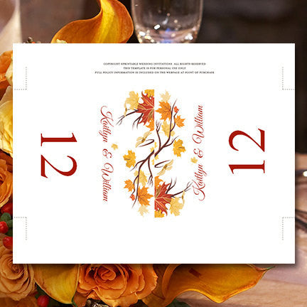 Printable Table Number Template Falling Leaves Tent