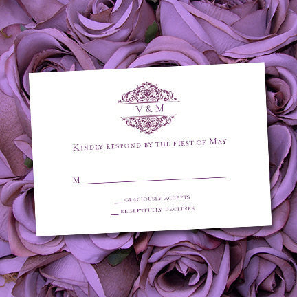Wedding Response Cards Grace Plum Purple
