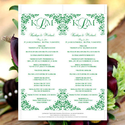 Slim Wedding Program Kaitlyn Emerald Green