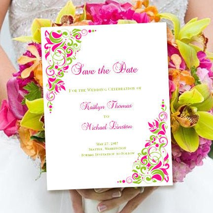 Wedding Save the Date Cards Gianna Fuchsia Pink Lime Green - Wedding ...