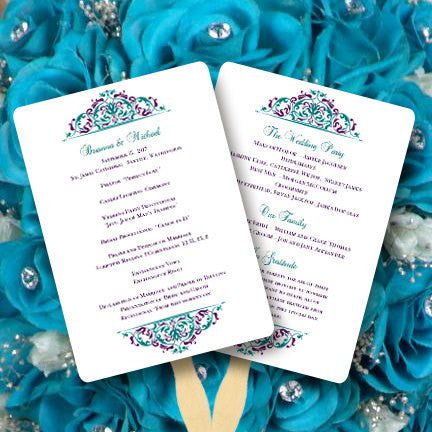 Wedding Program Fan Grace Peacock Colors Purple Turquoise Teal