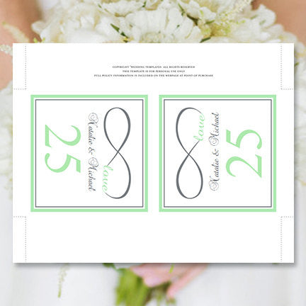 Printable Table Number Template Infinity Love Mint Green Gray Tent