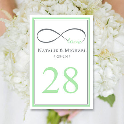 Wedding Table Number Template Infinity Love Mint Green Gray Flat