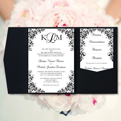 Wedding Invitation Folders With Pocket: Pocket Fold Wedding Invitations Kaitlyn Black White 5x7
