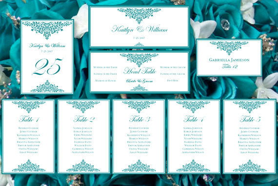 Wedding Seating Chart Set Anna Maria Teal