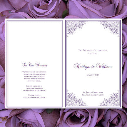 Wedding Program Template Vintage Purple
