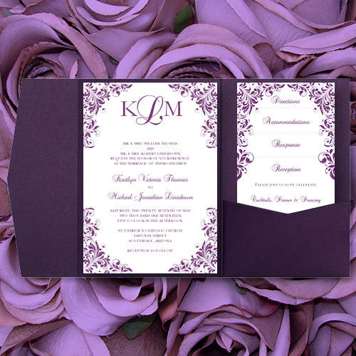 Pocket Fold Wedding Invitations Kaitlyn Purple 5x7