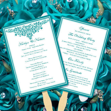 Wedding Program Fan Anna Maria Teal