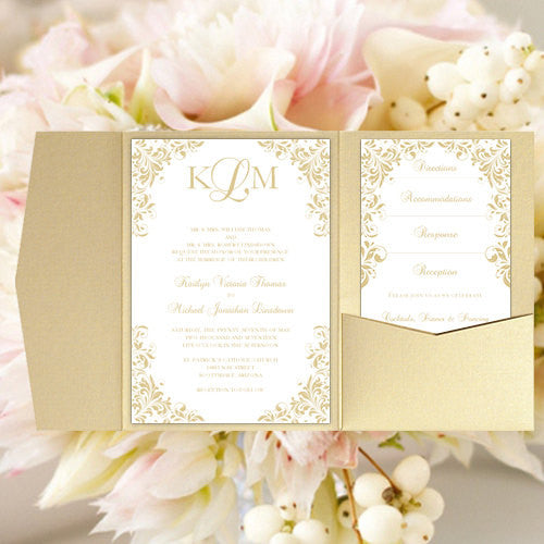 Pocket Fold Wedding Invitations Kaitlyn Champagne 5x7