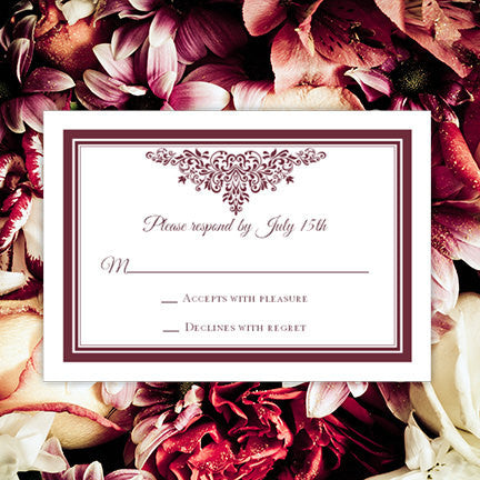 Wedding Response Cards Anna Maria Burgundy