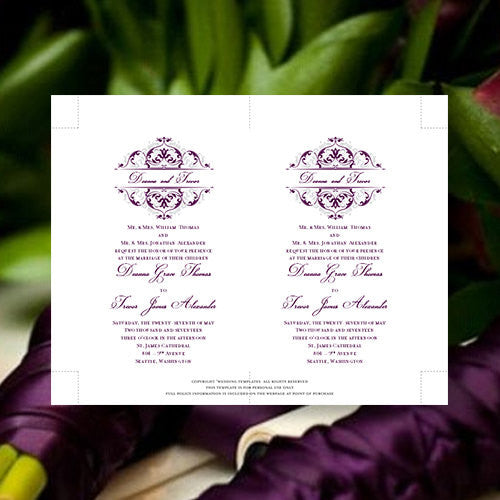 Pocket Fold Wedding Invitations Grace Eggplant Purple Light Silver 5x7