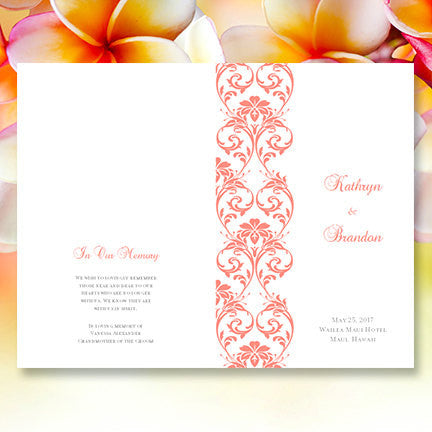 Wedding Program Template Tropical Damask Coral