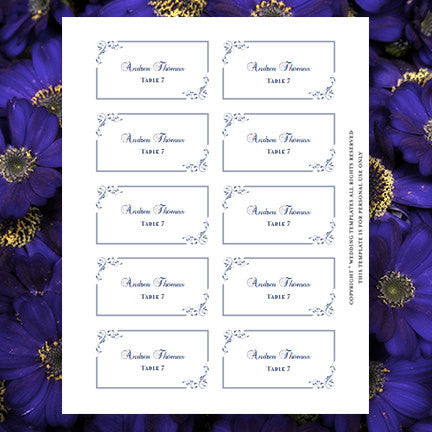 Printable Wedding Place Cards Elegance Midnight Navy Blue Flat