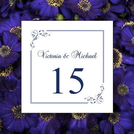 Printable Table Number Template Elegance Midnight Navy Blue Tent