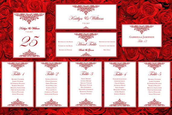 Wedding Seating Chart Set Anna Maria Red