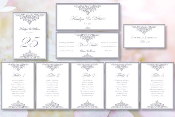 Wedding Seating Chart Set Anna Maria Silver Gray